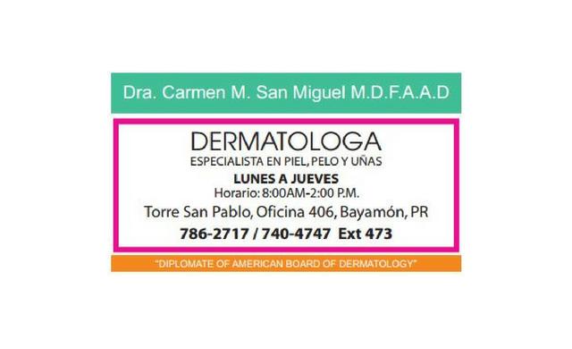 DERMATOLOGA Dra. Carmen M. San Miguel